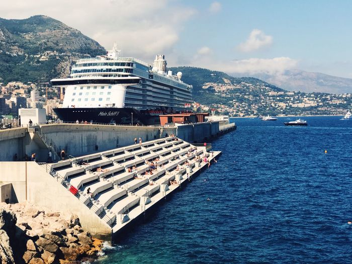 Monaco Kreuzfahrtschiff Cruise Ship Cruise Architecture Water Built Structure Transportation Day High Angle View Sea Sky City Cityscape No People Mountain Building Exterior Nature Mode Of Transport Nautical Vessel Outdoors EyeEmNewHere