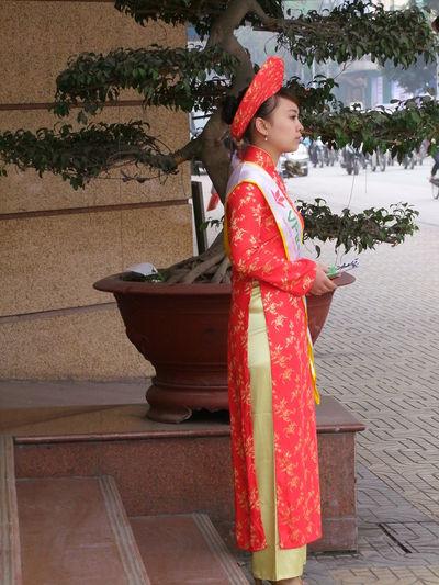 Traditional Vietnamese Dress Vietnam, Hanoi, Traditional, Dress, Woman, Girl, Side