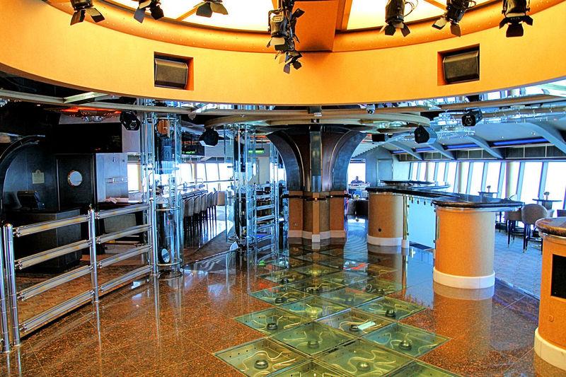 Interior of illuminated factory