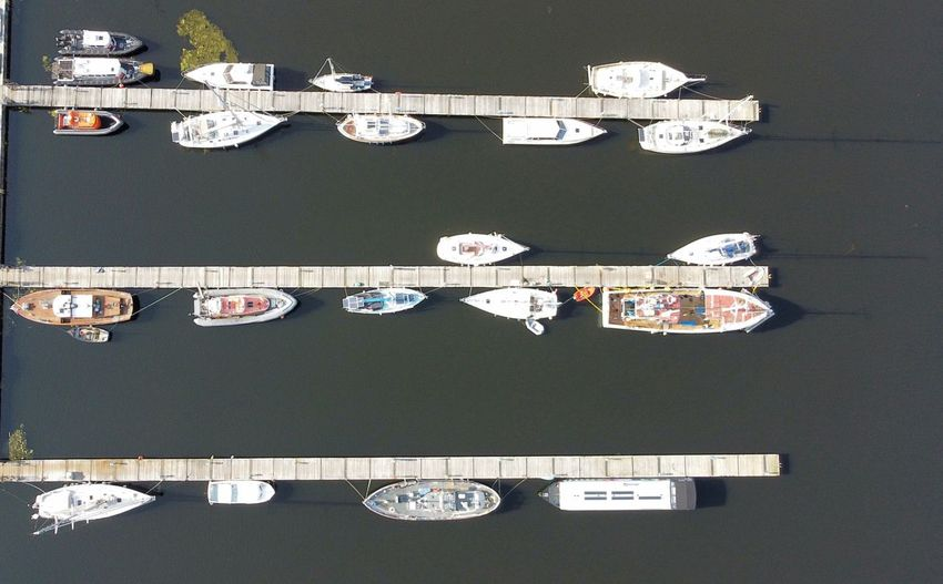 High angle view of ship in harbor