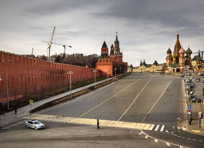 City Street By St Basils Cathedral Against Sky At Kremlin