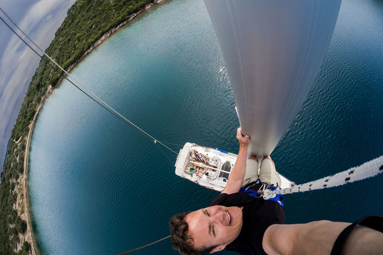 Part 2 of the short adrenalitic infusion, climbing up the mast in the boatwain´s chair; aproximately 12m over sea Boat Boatwain´s Chair Croatia High Angle View Of London High Angle View Over Sea Horizon Over Water Sailing Sea Top Of The Mast