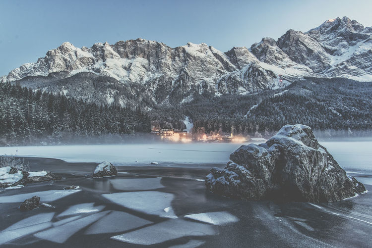 Eibsee - Germany Eibsee Frozen Zugspitze Alps Cold Cold Temperature Germany Mountain Rock Scenics - Nature Snow Snowcapped Mountain Winter