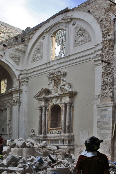 L'Aquila after the earthquake: church of Santa Maria di Collemaggio Church Firemanatwork Architecture Building Exterior Built Structure Earthquake Earthquake Area Earthquake In Italy Earthquake L'aquila Fireman Fireman At Work History Men One Person People Place Of Worship Real People Rear View Religion Rubble Spirituality