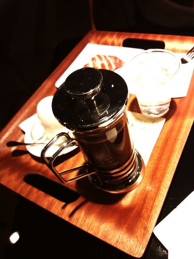 Coffee pressbwith bakeryFood And Drink Frenchpress Coffee Coffee ☕ coffeetime croissant Bakery