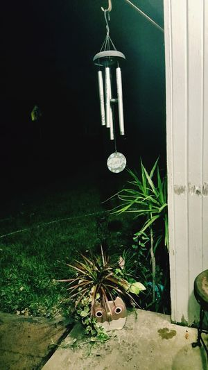 Night No People Plant Built Structure Outdoors Architecture Grass Frontporch Nightphotography Smalltown Owl Windchimes