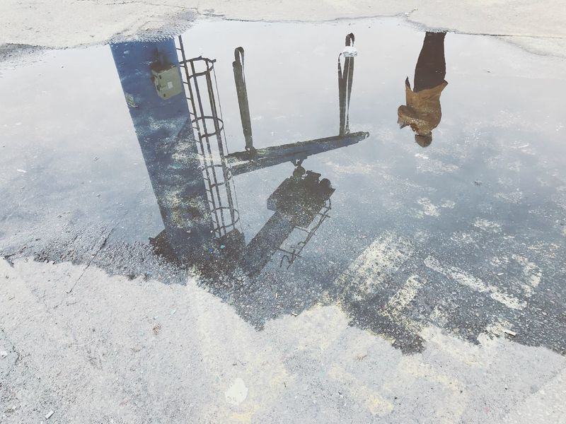 Grúa High Angle View Outdoors Day Nature Reflection Puddle Winter Cold Temperature Water No People