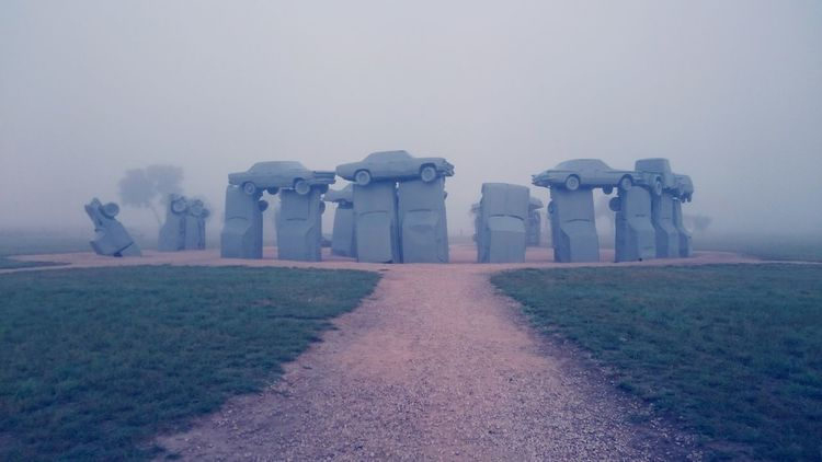 Carhenge Art Arts Culture And Entertainment Art Installation Landmark Summer Early Morning Mist Dawn Car Cars Muscle Cars Epic Traveling History Fog Sky Sunrise Entertainment Sunrise - Dawn Foggy Weather Storm Cloud