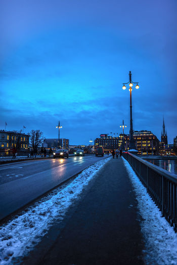 Walking towards Stockholm city in winter Cityscape Perspective Sweden Winter Direction Dusk In The City Light Of The City Pathway