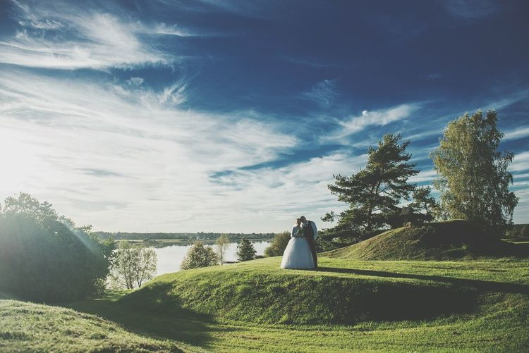 Wedding Bride And Groom Nature Landscape Latvia DaugavaRiver Love Couple Romantic Valentine's Day  Valentine