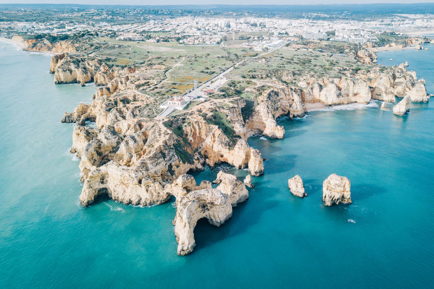 Algarve Atlantic Atlantic Ocean Coastline Drone  Lagos Ponta Da Piedade Tourist Attraction  Aerial View Algarve, Portugal Architecture Beach Beauty In Nature Blue Water Cliff Coast Day Dji High Angle View Nature No People Outdoors Rock - Object Scenics Sea Seaside Sky Tranquility Travel Destinations Water Waterfront