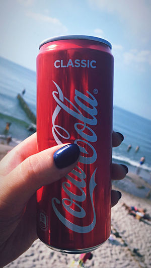 Close-up of hand holding drink at beach against sky