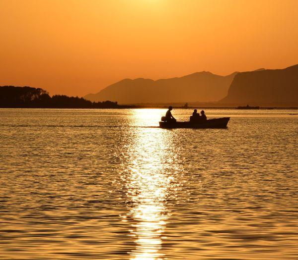 Sunset Orange Color Sea Nature Stagnonedimarsala Marsala Sicilia Sicily Tramonto Boat Riflessi