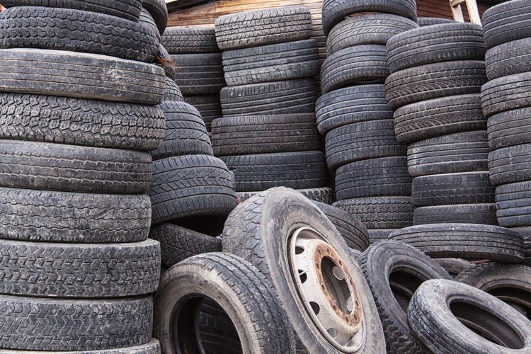 Stacked tires at warehouse