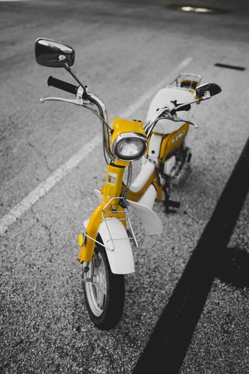 Paint it yellow. Bicycle No People Road Day Outdoors Close-up City Paint The Town Yellow Moped Street Bike