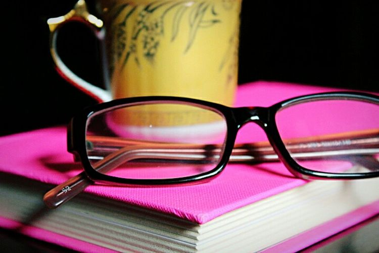 Eyesight Eyeglasses  Close-up Pink Color Indoors  Check This Out Daily Objects Cup Cup Of Tea Cup Of Coffee Pink Book Golden Golden Cup Common Objects