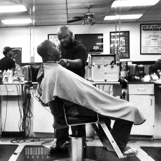 Been a while since I posted one..... Haircut Barbershop Blackandwhite People Monochrome