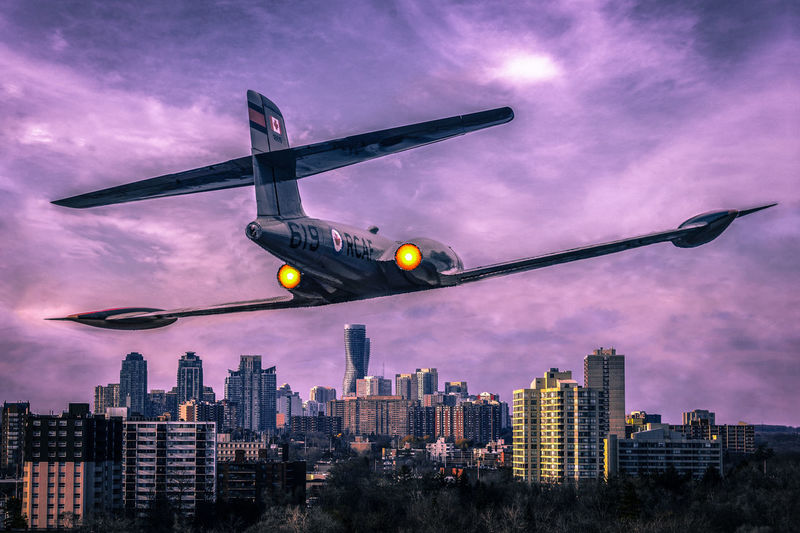 RCAF Avro CF-100 Flies Once More Over Mississauga (Composite). BTS photo of the fighter jet @ https://www.instagram.com/p/Bii2rTmF436/ Architecture Check This Out City Exceptional Photographs EyeEm Best Edits EyeEm Best Shots Hanging Out Hello World Nature Relaxing Taking Photos Tree Built Structure Canada Coast To Coast Cloud - Sky Day Enjoying Life Eye4photography  First Eyeem Photo Landscape No People Outdoors Sky Skyporn Sun