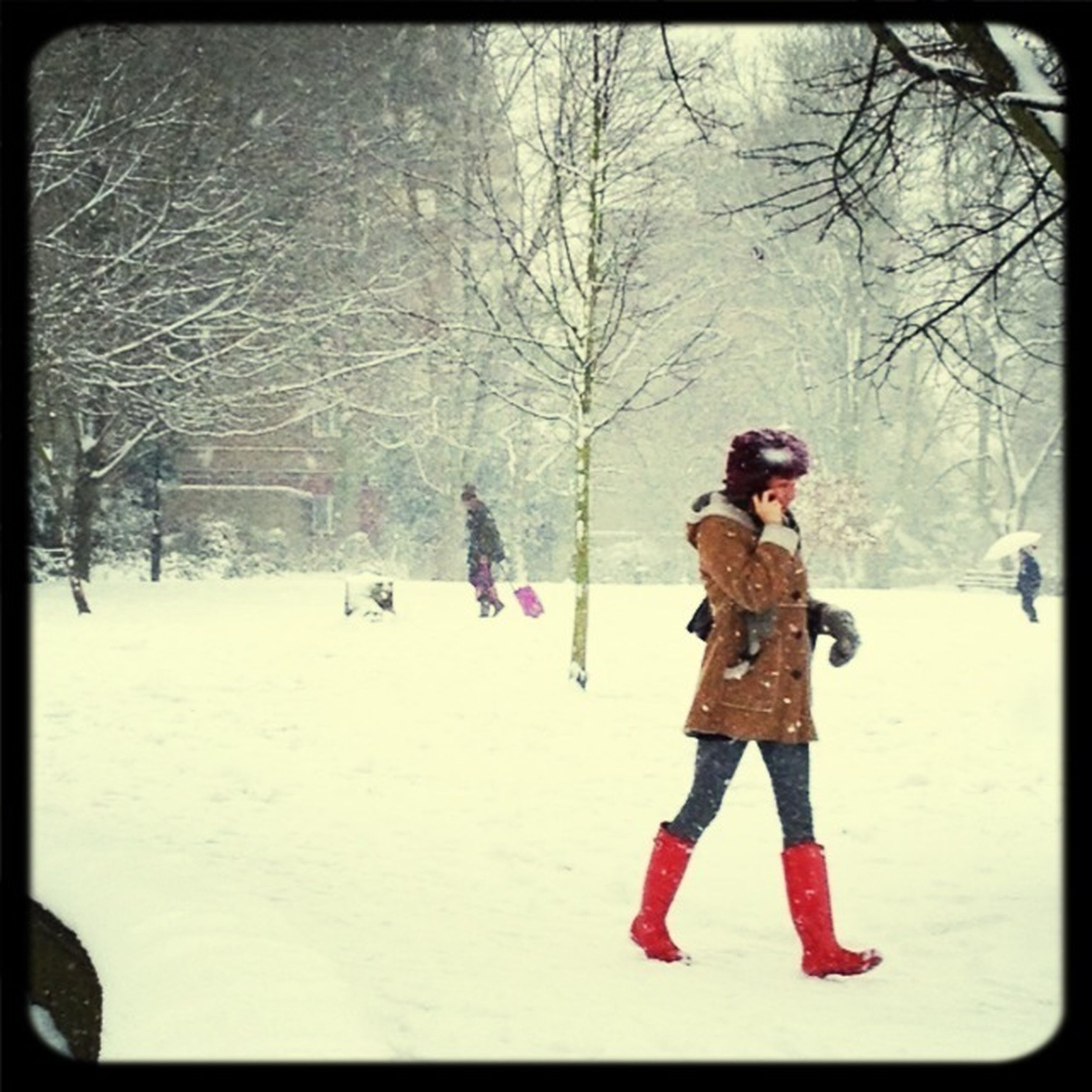 lifestyles, winter, full length, leisure activity, snow, cold temperature, season, warm clothing, transfer print, tree, childhood, togetherness, person, auto post production filter, girls, love, boys, casual clothing