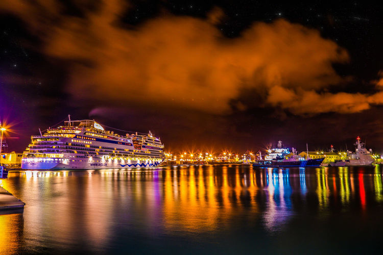 Architecture Building Exterior Built Structure City Cityscape Cloud - Sky Cruise Ship Illuminated Luxury Nature Nautical Vessel Night No People Reflection River Sky Transportation Travel Travel Destinations Water Waterfront HUAWEI Photo Award: After Dark