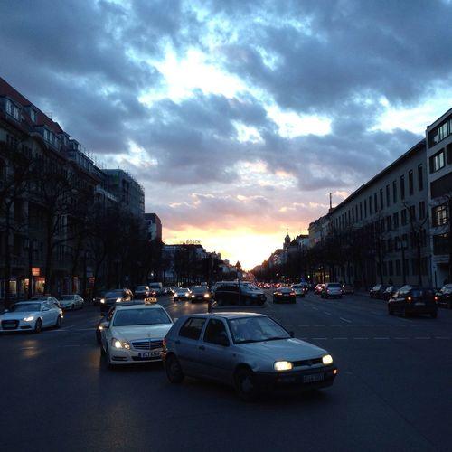 Taking Photos looking down Bismarckstrasse at Sunset Berlin
