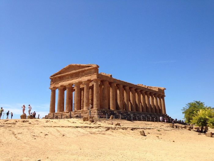 Low angle view of valle dei templi against clear sky