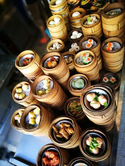 Large Group Of Objects No People Day Food Dim Sum Bamboo Steamer Dimsum Chinese Food Thailand Trip Variation Stack