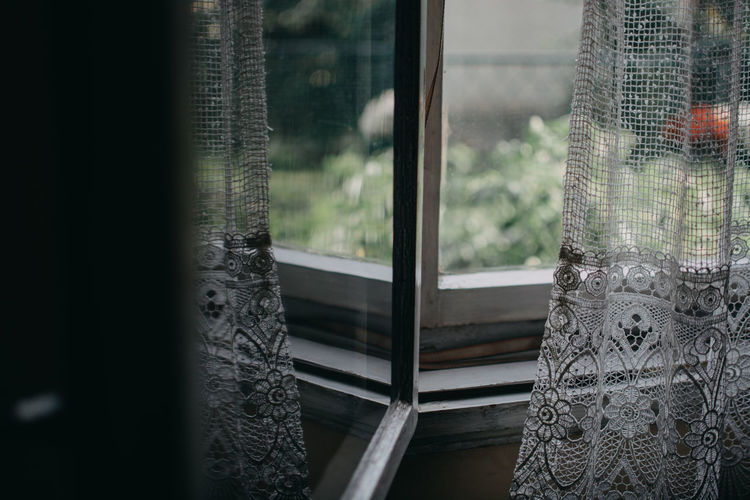 window reflection Architecture Building Built Structure Close-up Curtain Day Design Floral Pattern Glass Glass - Material Home Interior House Indoors  Nature No People Pattern Reflection Textile Transparent Tree Window Window Frame