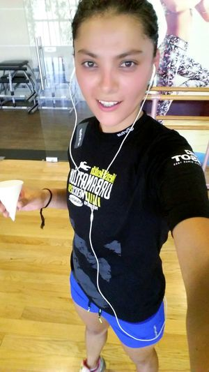 Headphones Looking At Camera Gym Traning Hard Sport Girl Power