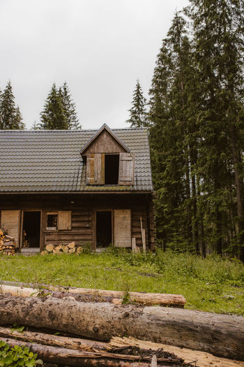 Wooden house amidst trees and plants in forest against sky