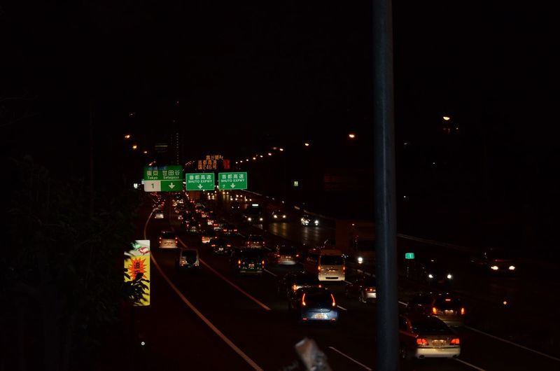 Night Illuminated Road Car Traffic Japan City Life Japan High Way