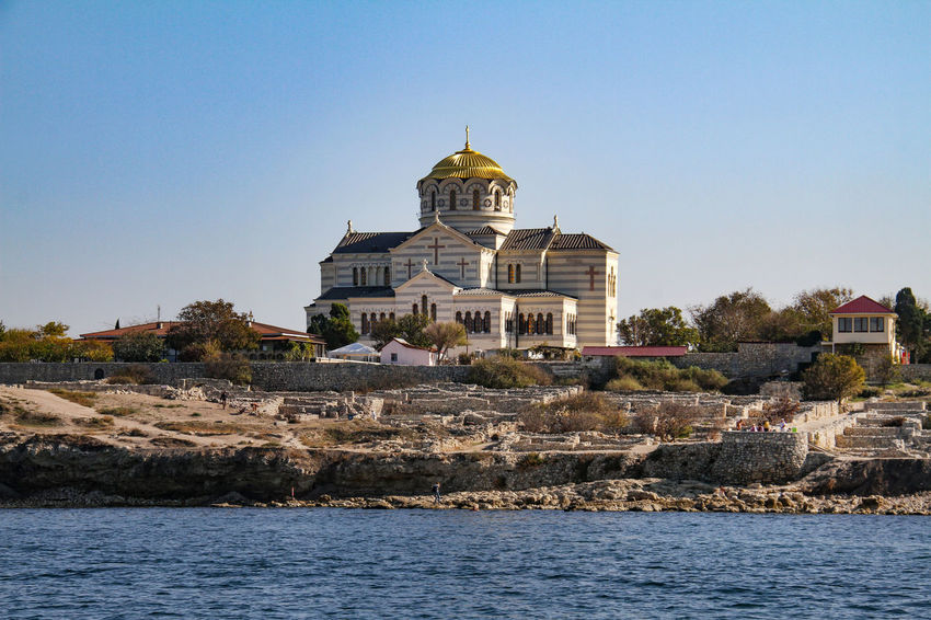 Sevastopol  Architecture Building Exterior Built Structure Clear Sky Day Dome History Khersones Monument Nature No People Outdoors Place Of Worship Religion Sky Spirituality Travel Destinations Water
