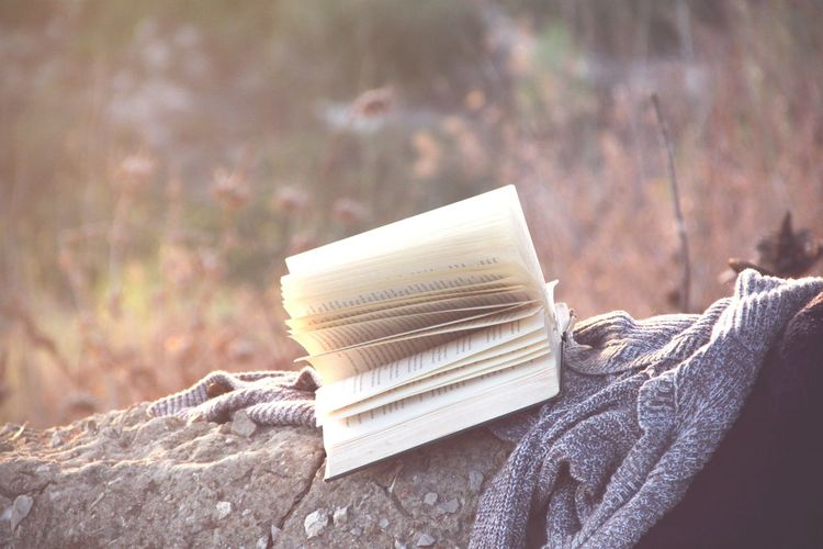 Close-Up Of Book And Sweater On Rock