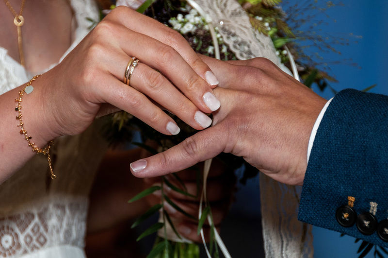 Midsection Of Bride Holding Groom Finger