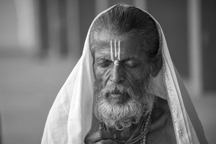 Close-up of bearded sadhu