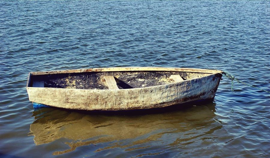 Old Water Mode Of Transport Beauty In Nature EyeEmNewHere Lost In The Landscape Fishing Industry Outdoors Old Fishing Boat Connected By Travel Landscape Tranquility Scenics Horizon Over Water Rethink Things