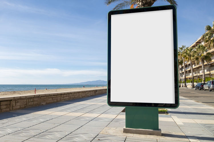 Blank billboard mock up Architecture No People Nature Day Copy Space Footpath Sign Outdoors Blank Sky Billboard Advertisement Advertising Mock Up Street