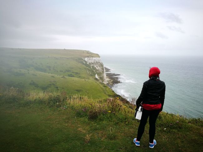 Breathing Space Cliffs White Cliffs Of Dover Breathing Ocean The Channel Dover One Person Outdoors Only Women Cold Temperature Lost In The Landscape