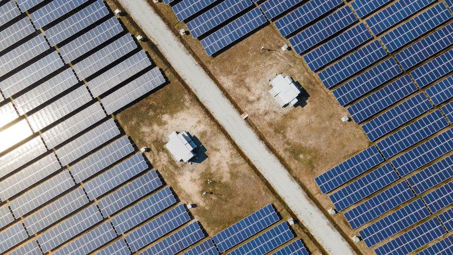 Aerial view of solar farm on field