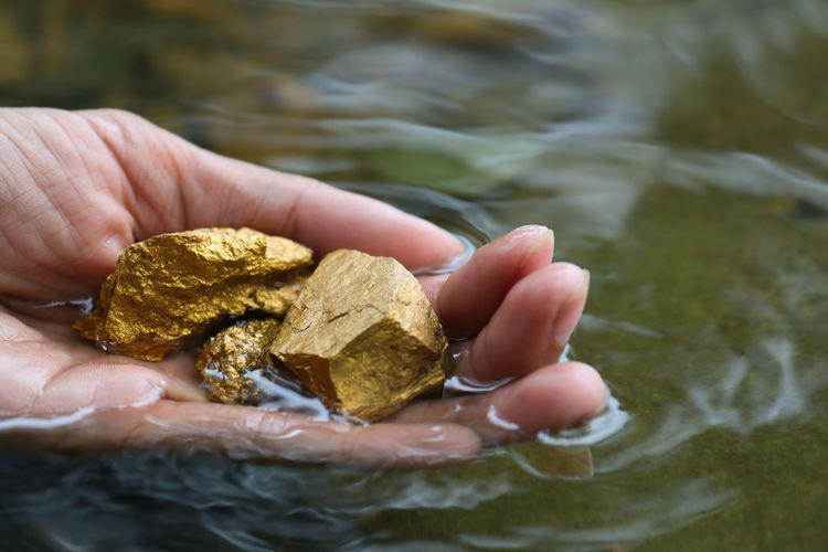 Close-up of hand holding gold in lake