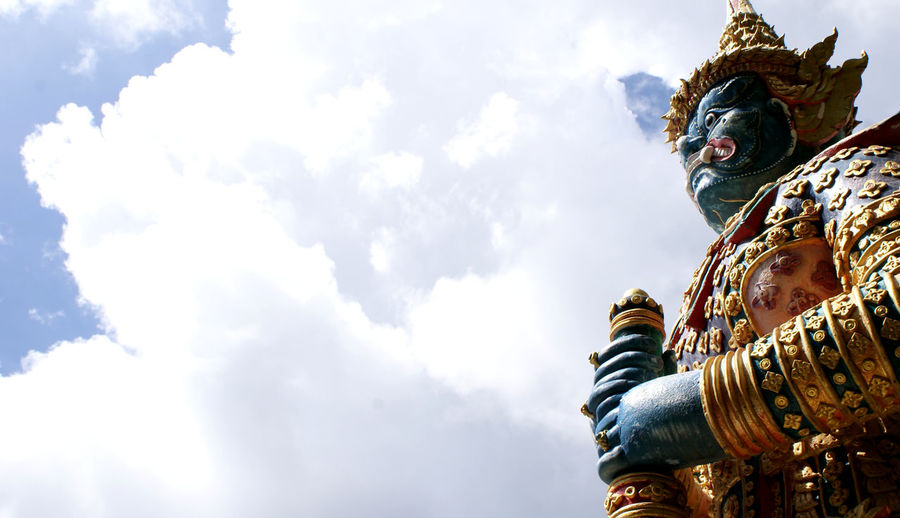 Sculpture Statue Representation Human Representation Cloud - Sky Art And Craft Sky Belief Spirituality Religion Male Likeness Creativity Architecture Low Angle View Place Of Worship Built Structure Day Nature History No People Outdoors Idol Ornate ASIA Thailand