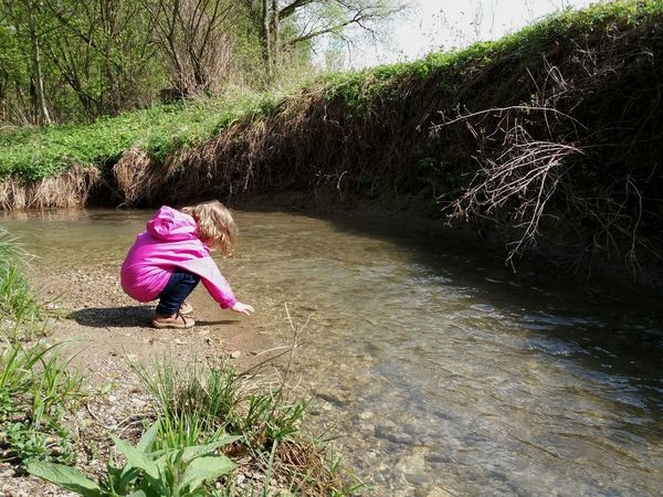 Childhood One Person Day Nature People Children Only Child Real People Grass Full Length Outdoors Sunlight Little Girl Sunny Day River Path In Nature Playtime Playing With Water Fresh And Clean Fresh Water Girl Trip Naturelover Waterlover Kids Playing