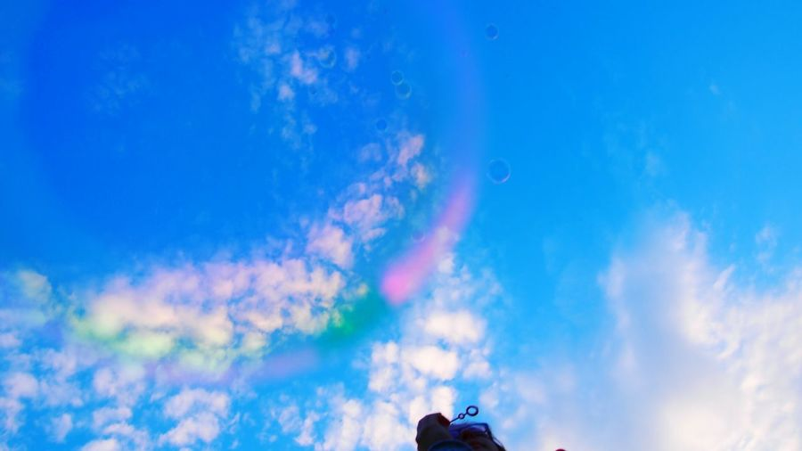 The sky through a soap bubble Clouds Clouds And Sky Sky Water Reflections Rainbow Bubble Bubbles Mirrorless Soap Bubble Soapbubbles Soapbubble Soap Bubbles