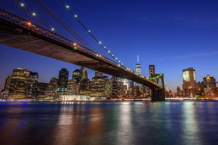 The Big Apple Blue Hour Cityscape Brooklyn Bridge  Brooklyn Bridge / New York DUMBO DUMBO, Brooklyn Lights New York City Sky Fine Art Photography Showcase July
