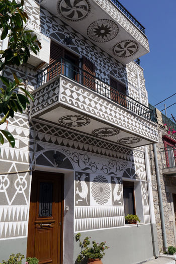 Striking buildings in Greek village of Pyrgi on Chios island. Architecture Greek Pyrgi Blackandwhite Buildings Checkerboardpattern Chios Greece Street