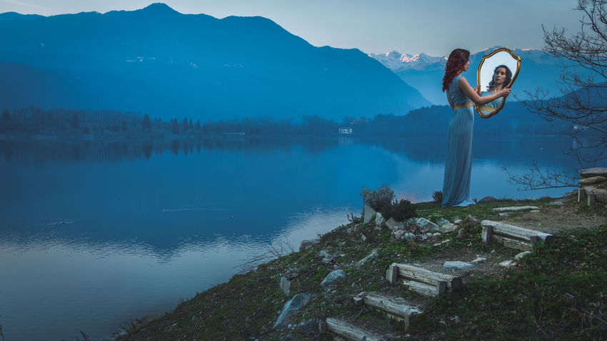 Search for her Reflection Water Mountain Lake Outdoors Nature People One Person Women Lagoon Mirror Landscape Cute Colors Beautiful People Cute Girl Females Lovely Girl Nature Lover Way Stairway Photography Lovely Place One Man Only Only Men