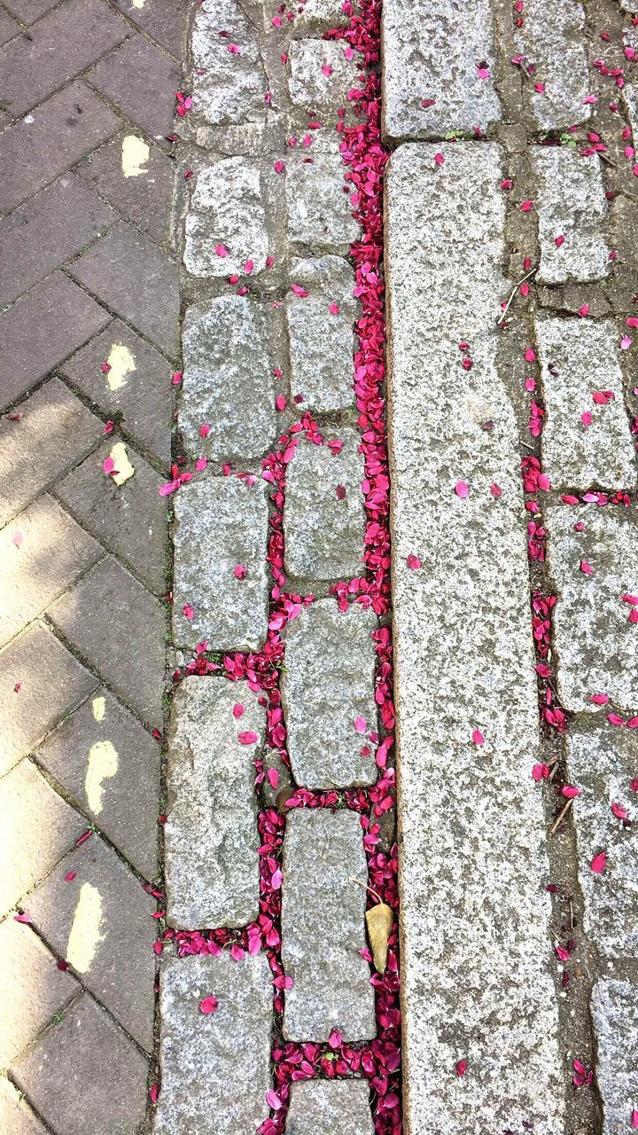 outdoors, street, day, high angle view, full frame, stone tile, no people, close-up