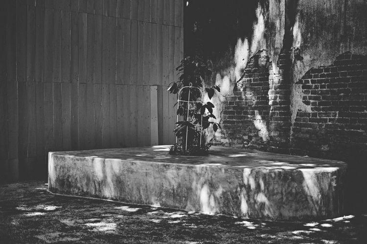 Fountain against wall