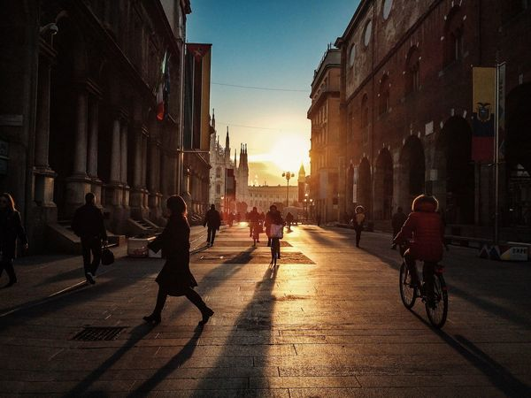 Early in the morning Arch Architecture Building Exterior Built Structure City City Life Façade Historic History Incidental People Italy Leading Men Milan Narrow Outdoors Real People Street Streetphotography The Way Forward Walking Women