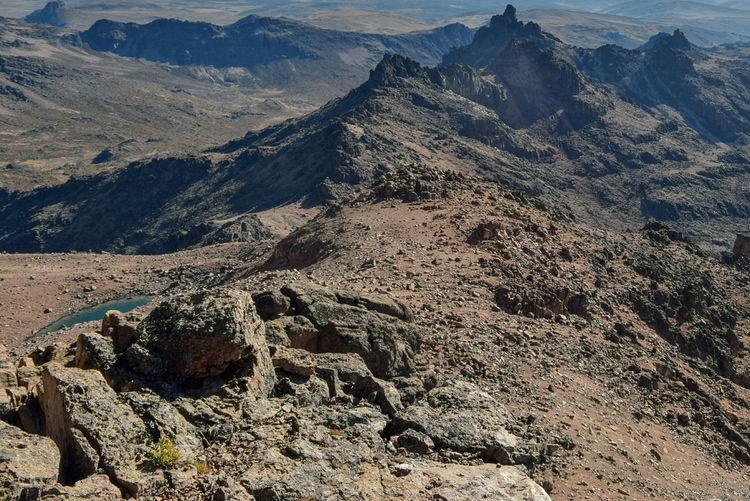 Rock formations above the clouds at mount kenya, mount kenya national park